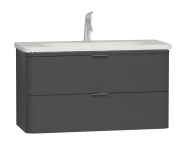 56149 - Nest Trendy 2 Drawer Washbasin Unit 100 cm, Anthracite High Gloss