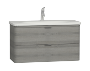 56151 - Nest Trendy 2 Drawer Washbasin Unit 100 cm Grey Natural Oak