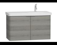 56202 - Nest 2 Doors Washbasin Unit 100 cm, Grey Natural Wood