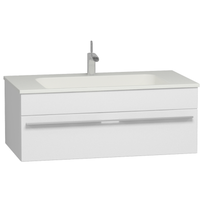 System Infinit Washbasin Unit, Including Infinit Washbasin, 100 cm, High Gloss White