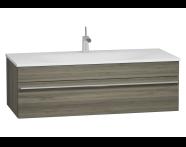 56245 - System Infinit Washbasin Unit, Including Infinit Washbasin, 120 cm, High Gloss Grey Birch