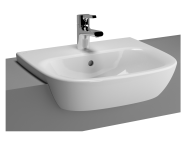 5635B003-0001 - Zentrum Recessed Basin, 50cm with Middle Tap Hole, with Overflow Holes