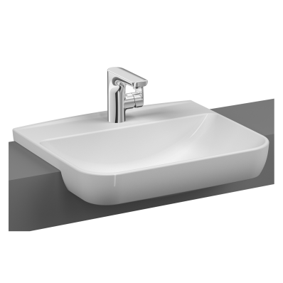 Sento Semi-recessed basin, 55 cm, with one tap hole, with overflow hole, white