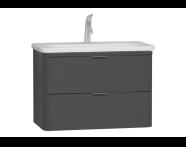 56413 - Nest Trendy Washbasin Unit, 2 Drawers, without Basin, 80 cm, High Gloss White