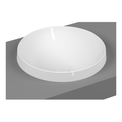 Frame Round Countertop Washbasin, Matte White