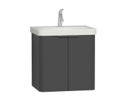 56534 - Nest Washbasin Unit, with Doors, without Basin, 60 cm, Grey Natural Wood