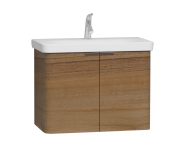 56537 - Nest Washbasin Unit, with Doors, without Basin, 80 cm, Waved Natural Wood
