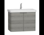 56538 - Nest Washbasin Unit, with Doors, without Basin, 80 cm, Grey Natural Wood