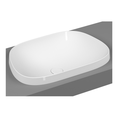 Frame TV shaped countertop basin, 57 cm, without tap hole, without overflow hole, matte white