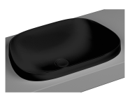 5653B483-0016 - Frame TV shaped countertop basin, 57 cm, without tap hole, without overflow hole, matte black