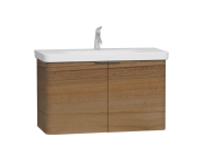 56541 - Nest Washbasin Unit, with Doors, without Basin, 100 cm, Waved Natural Wood