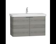 56542 - Nest Washbasin Unit, with Doors, without Basin, 100 cm, Grey Natural Wood
