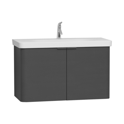 Nest Asymmetrical Washbasin Unit, with Doors, without Basin, 100 cm, High Gloss White