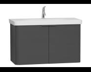 56545 - Nest Asymmetrical Washbasin Unit, with Doors, without Basin, 100 cm, Waved Natural Wood