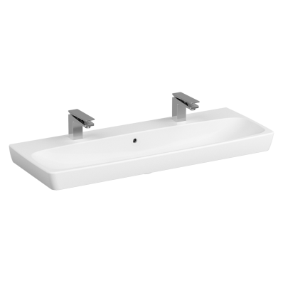 Washbasin, 120 cm, Two Tap Hole, With Overflow Hole