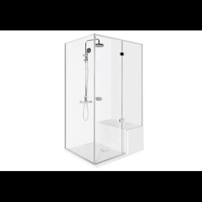 Roomy Compact Shower Unit 120x90 cm Left, Flat, U Wall, Shower Column