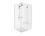 56600003000 - Roomy Compact Shower Unit 120x90 cm Left, Flat,  L Wall, Shower Column