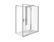 56910011000 - Zest Compact Shower Unit 160x90 cm Left, with Door,  L Wall, Matte Grey
