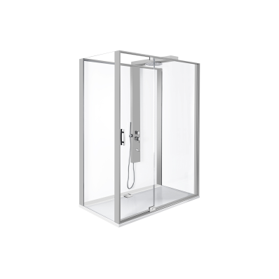 Zest Compact Shower Unit 160x90 cm Left, with Door,  L Wall, Matte Grey