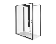 56910023000 - Zest Compact Shower Unit 160x90 cm with Door, Flat Wall, Matte Black