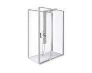 56920011000 - Zest Compact Shower Unit 120x90 cm Left, with Door,  L Wall, Matte Grey