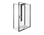 56920021000 - Zest Compact Shower Unit 120x90 cm Left, with Door,  L Wall, Matte Black