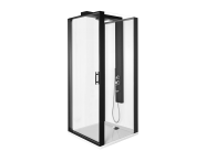 56930021000 - Zest Compact Shower Unit 90x90 cm Right, with Door, Flat Wall, Matte Black