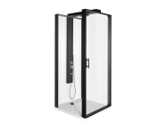 56930022000 - Zest Compact Shower Unit 90x90 cm Left, with Door, Flat Wall, Matte Black