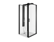 56930024000 - Zest Compact Shower Unit 90x90 cm Left, with Door,  L Wall, Matte Black