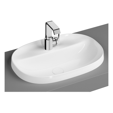 Frame Oval Countertop Basin, with Faucet Hole, Matte White