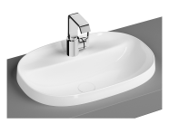 """5695B470H0041 - """"Frame Oval countertop basin, 56 cm, with tap hole, without overflow hole, black"""""""