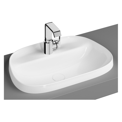 Tv Shaped Countertop Basin, 57 cm, One Tap Hole, Without Overflow Hole,  Matte White