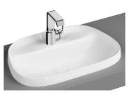 """5696B403H0041 - """"Frame TV shaped countertop basin, 57 cm, with tap hole, without overflow hole, white"""""""