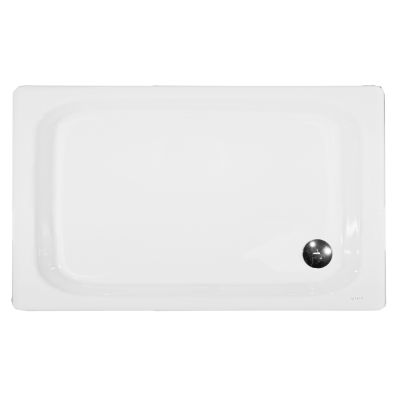 Generic Rectangular 140x80 cm Steel Shower Tray, 3.5  Mm, H:6.5 cm, 90  Mm Waste, Sound Proofing Pad