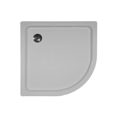 Generic Corner 100x100 cm Steel Shower Tray, 3.5  Mm, H:6.5 cm, 90  Mm Waste, Sound Proofing Pad