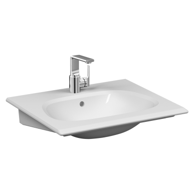 """""""Frame Vanity basin, 60 cm, with one tap hole, with overflow hole, white"""""""