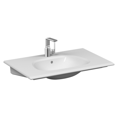 """""""Frame Vanity basin, 80 cm, with one tap hole, with overflow hole, white"""""""