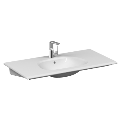 Frame Vanity basin, 100 cm, with one tap hole, with overflow hole, white
