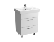 57123 - Vision Washbasin Unit, 65 cm, with 2 drawers, White High Gloss