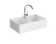 "5774B003-0001 - ""Arkitekt Double Belfast Sink 80 cm, Double Belfast Sink, With tap hole, with overflow hole"""