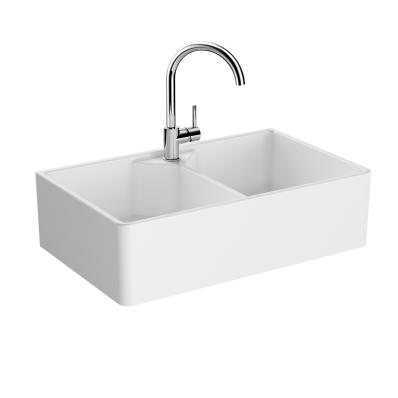 """Arkitekt Double Belfast Sink 80 cm, Double Belfast Sink, With tap hole, with overflow hole"""