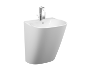 5798B403-0001 - Frame Half Monoblock Basin, 50 cm, with One Tap Hole, with Overflow Hole, White, 424216 Waste Set And Trap Is Included