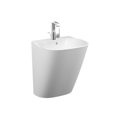 Frame Half Monoblock Basin, 50 cm, with One Tap Hole, with Overflow Hole, White, 424216 Waste Set And Trap Is Included