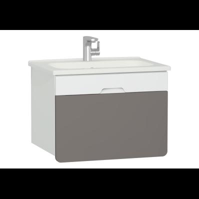 D-Light Washbasin Unit, 70 cm, Matte White & Mink