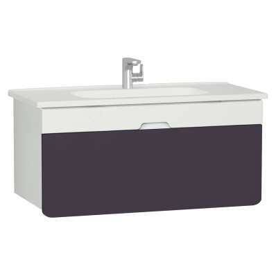 D-Light Washbasin Unit, 110 cm, Matte White & Purple