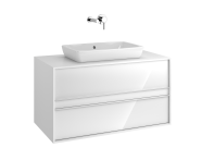 58178 - Metropole 100 cm, Washbasin Unit, 2 Drawer, White High Gloss