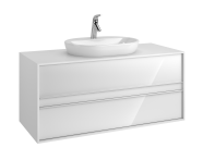58180 - Metropole 120 cm Washbasin Unit, 2 Drawer, White High Gloss