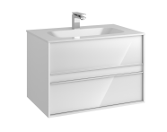 58182 - Metropole 80 cm Washbasin Unit, 2 Drawer, Infinit Washbasin, White High Gloss