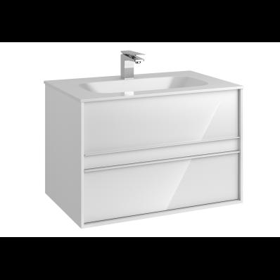 M-Line Infinit Washbasin Unit, 2 Drawers, Including Infinit Washbasin, 80 cm, High Gloss White