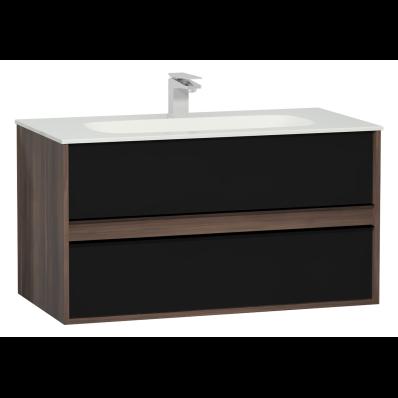 M-Line Infinit Washbasin Unit, 2 Drawers, Including Infinit Washbasin, 100 cm, Plum Tree